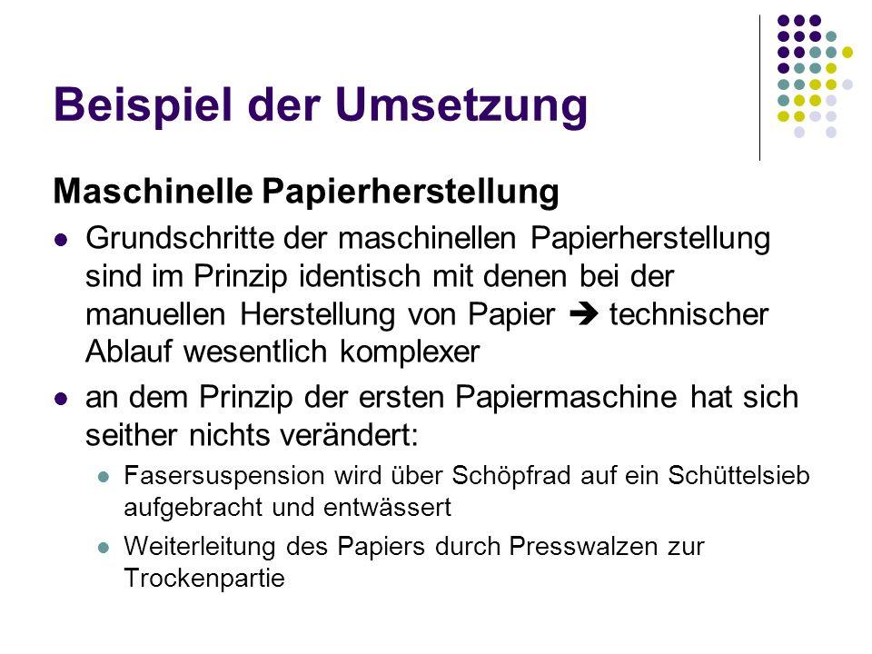 Beispiel der Umsetzung Maschinelle Papierherstellung Grundschritte der maschinellen Papierherstellung sind im Prinzip identisch mit denen bei der manu