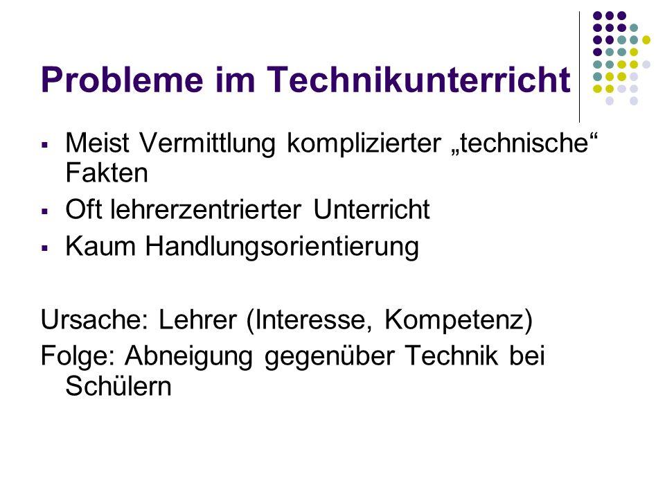 Probleme im Technikunterricht Technikunterricht vernachlässigt einige Dimensionen: Soziale Dimension von Technik Mensch-Technik-Beziehung Technikgeschichte