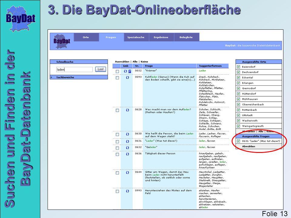 Suchen und Finden in der BayDat-Datenbank 3. Die BayDat-Onlineoberfläche Folie 13