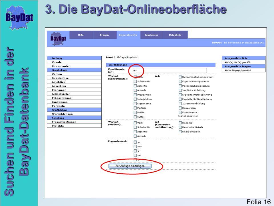 Suchen und Finden in der BayDat-Datenbank 3. Die BayDat-Onlineoberfläche Folie 16