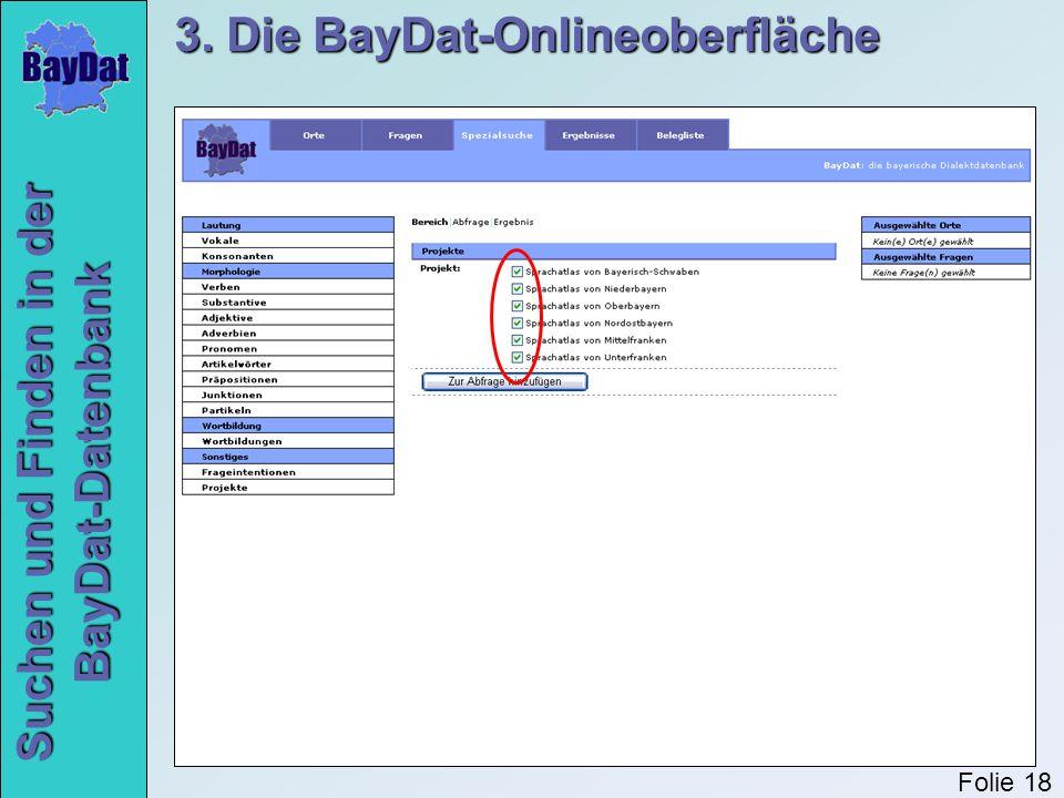Suchen und Finden in der BayDat-Datenbank 3. Die BayDat-Onlineoberfläche Folie 18