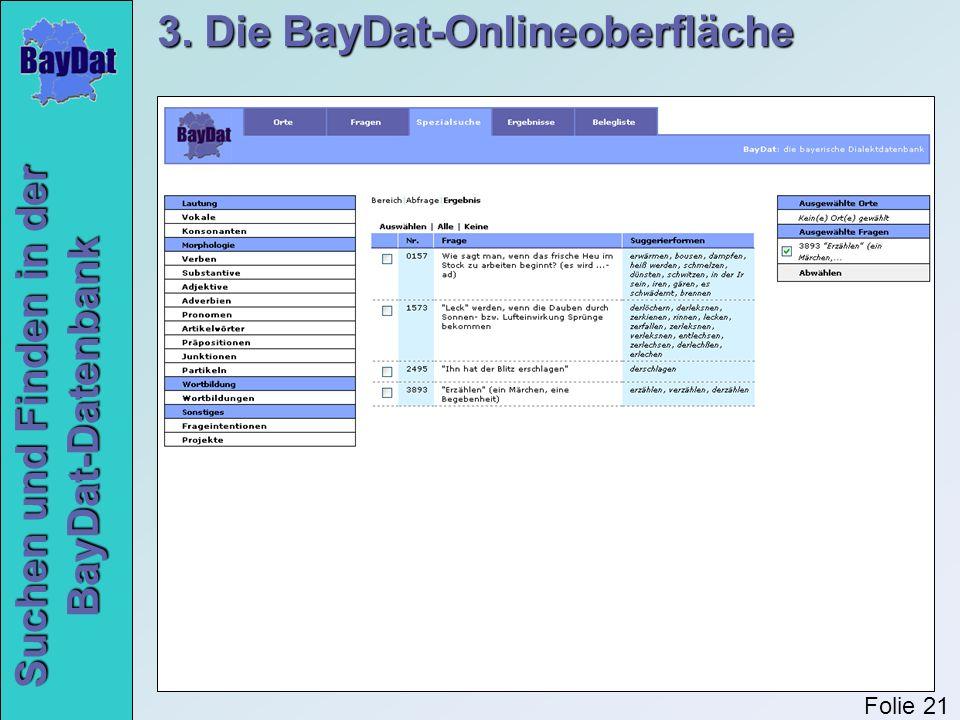 Suchen und Finden in der BayDat-Datenbank 3. Die BayDat-Onlineoberfläche Folie 21