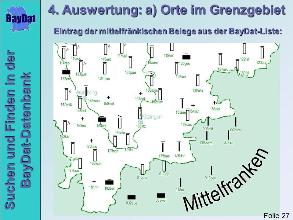 Suchen und Finden in der BayDat-Datenbank Eintrag der mittelfränkischen Belege aus der BayDat-Liste: 4. Auswertung: a) Orte im Grenzgebiet Folie 27