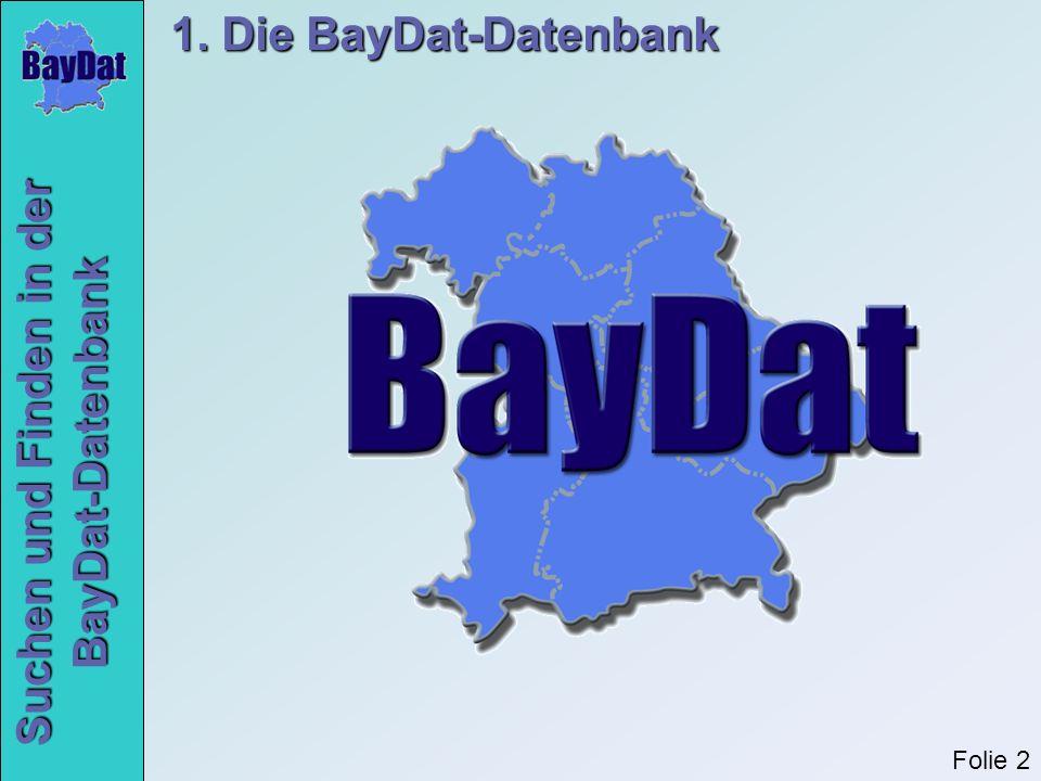 Suchen und Finden in der BayDat-Datenbank 3. Die BayDat-Onlineoberfläche Folie 23