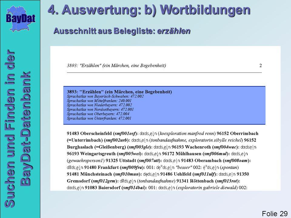 Suchen und Finden in der BayDat-Datenbank Ausschnitt aus Belegliste: erzählen 4. Auswertung: b) Wortbildungen Folie 29