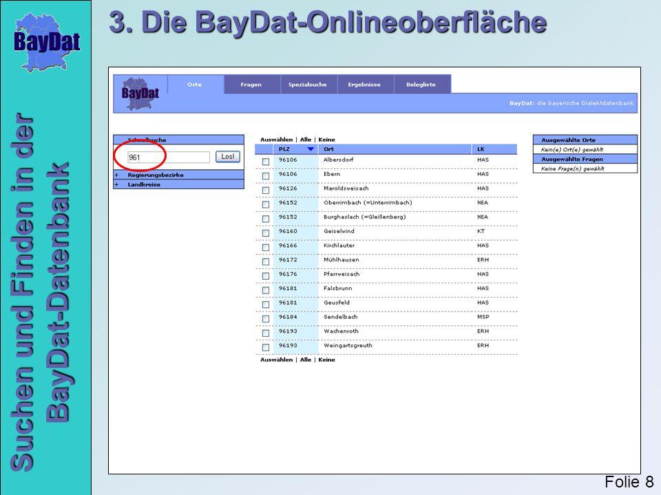 Suchen und Finden in der BayDat-Datenbank 3. Die BayDat-Onlineoberfläche Folie 19