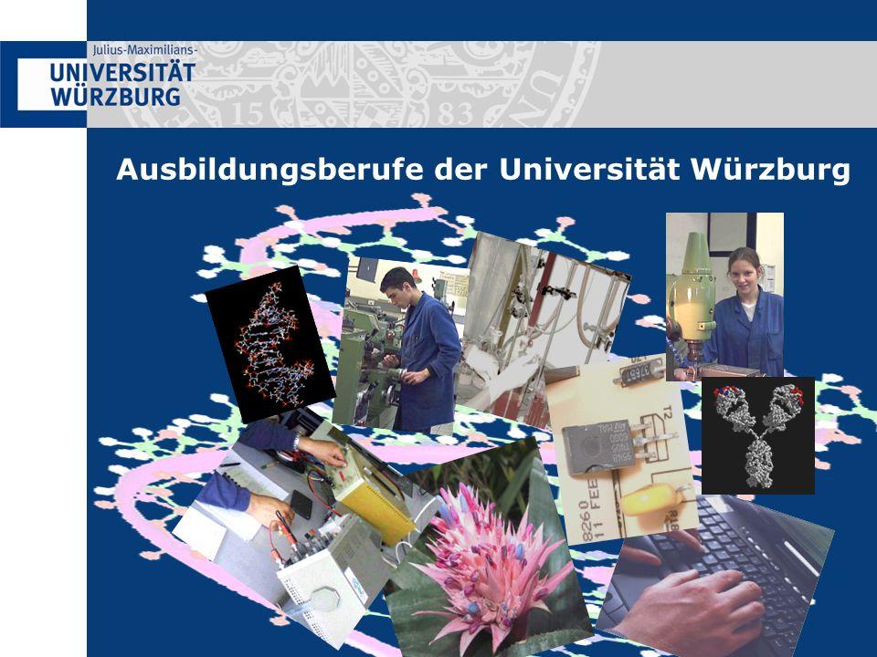 Ausbildungsdauer3 ½ Jahre AusbildungsbeginnAnfang September Voraussetzungen- Mittlere Reife oder Abitur - Leistungsbereitschaft und technisches Interesse AnsprechpartnerJürgen Zimmermann (Institut für Physikalische und Theoretische Chemie) Tel: 0931 31-89952 eMail: jzimmermann@phys-chemie.uni- wuerzburg.dejzimmermann@phys-chemie.uni- wuerzburg.de Homepage: http://www.phys- chemie.uni-wuerzburg.dehttp://www.phys- chemie.uni-wuerzburg.de Elektroniker ( IHK )