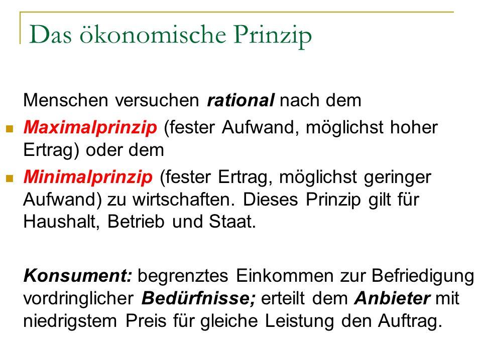 Das ökonomische Prinzip Menschen versuchen rational nach dem Maximalprinzip (fester Aufwand, möglichst hoher Ertrag) oder dem Minimalprinzip (fester E