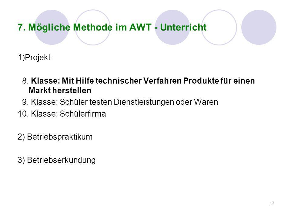 20 7. Mögliche Methode im AWT - Unterricht 1)Projekt: 8. Klasse: Mit Hilfe technischer Verfahren Produkte für einen Markt herstellen 9. Klasse: Schüle