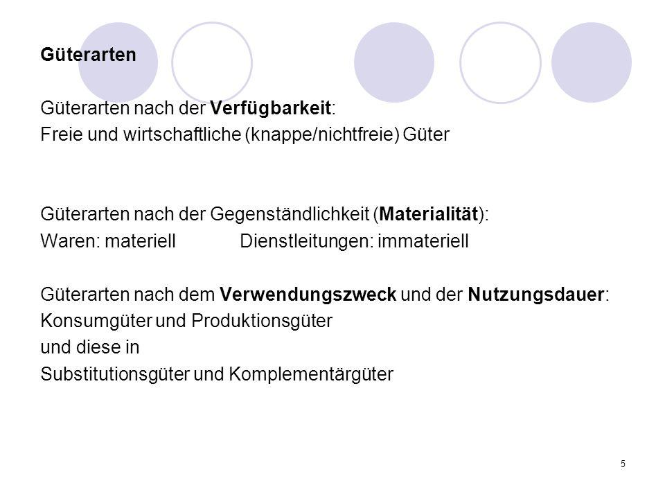 5 Güterarten Güterarten nach der Verfügbarkeit: Freie und wirtschaftliche (knappe/nichtfreie) Güter Güterarten nach der Gegenständlichkeit (Materialit