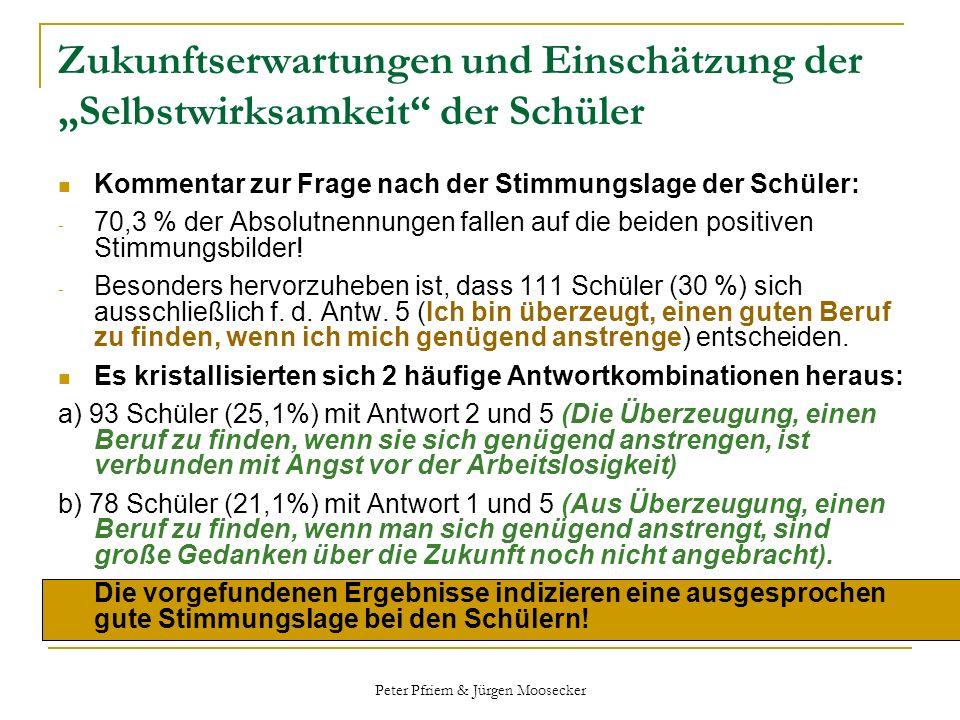 Peter Pfriem & Jürgen Moosecker Zukunftserwartungen und Einschätzung der Selbstwirksamkeit der Schüler Kommentar zur Frage nach der Stimmungslage der