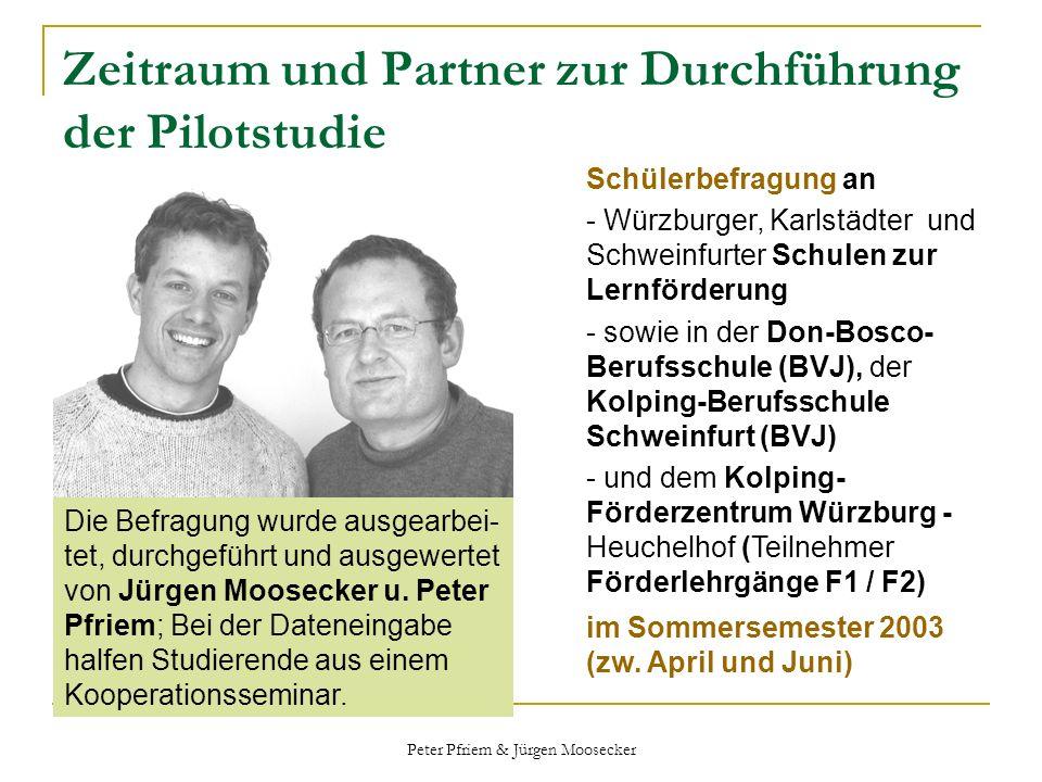 Peter Pfriem & Jürgen Moosecker Zeitraum und Partner zur Durchführung der Pilotstudie Schülerbefragung an - Würzburger, Karlstädter und Schweinfurter