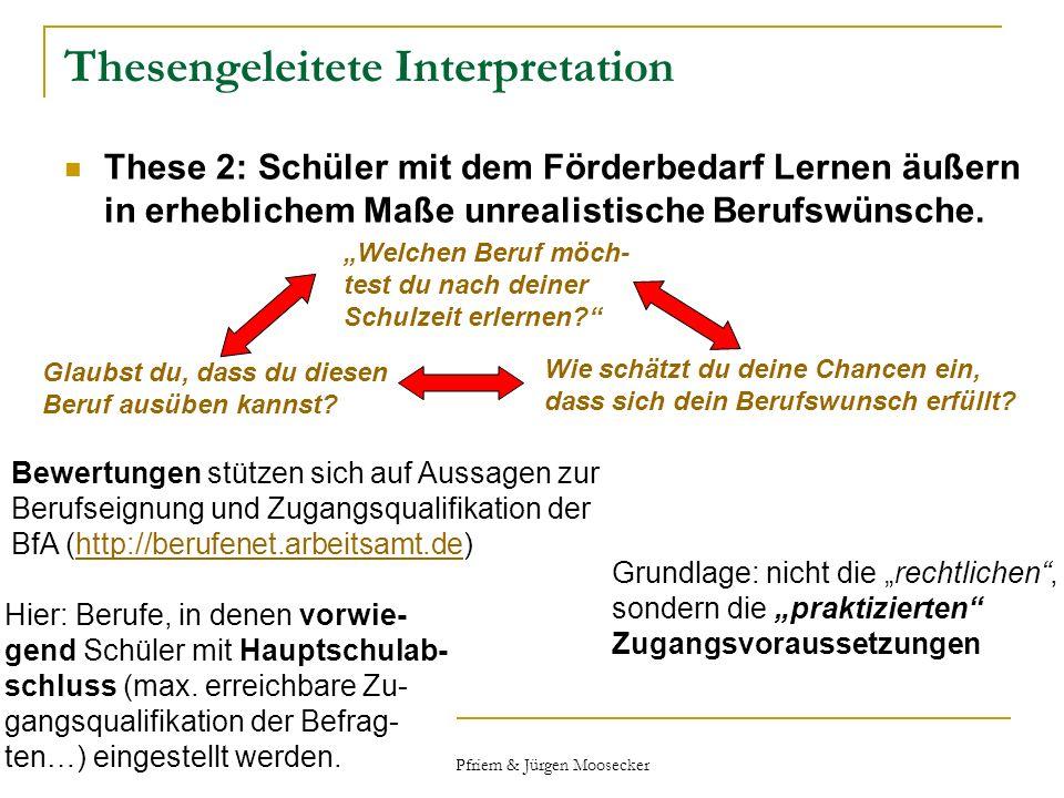 Peter Pfriem & Jürgen Moosecker Thesengeleitete Interpretation These 2: Schüler mit dem Förderbedarf Lernen äußern in erheblichem Maße unrealistische