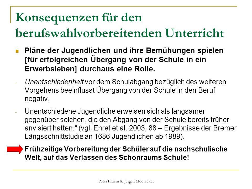 Peter Pfriem & Jürgen Moosecker Konsequenzen für den berufswahlvorbereitenden Unterricht Pläne der Jugendlichen und ihre Bemühungen spielen [für erfol