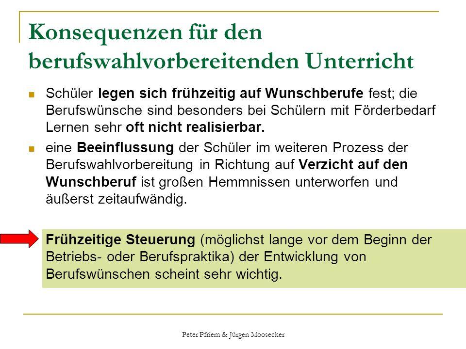 Peter Pfriem & Jürgen Moosecker Konsequenzen für den berufswahlvorbereitenden Unterricht Schüler legen sich frühzeitig auf Wunschberufe fest; die Beru