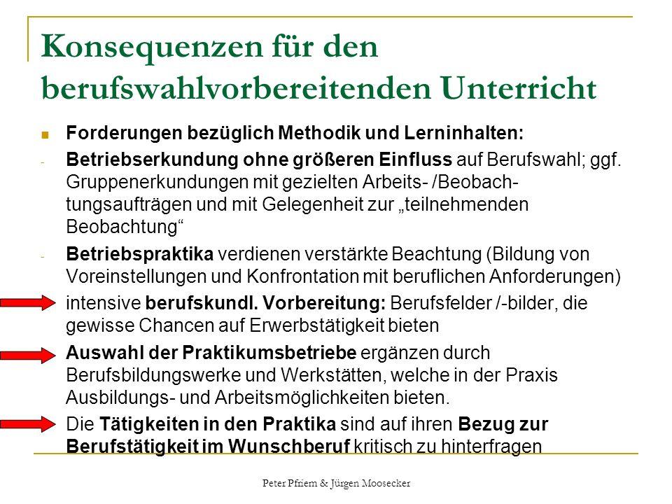 Peter Pfriem & Jürgen Moosecker Konsequenzen für den berufswahlvorbereitenden Unterricht Forderungen bezüglich Methodik und Lerninhalten: - Betriebser