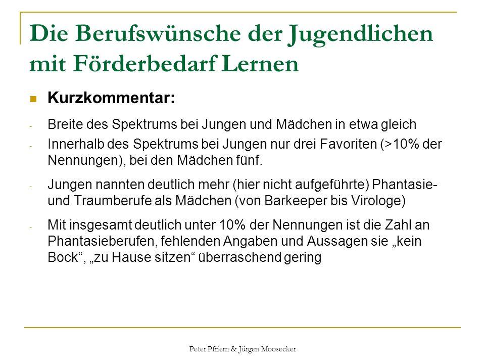 Peter Pfriem & Jürgen Moosecker Die Berufswünsche der Jugendlichen mit Förderbedarf Lernen Kurzkommentar: - Breite des Spektrums bei Jungen und Mädche