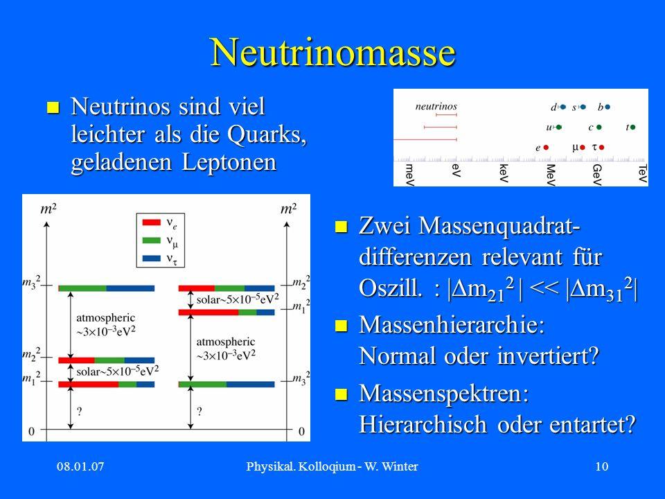 08.01.07Physikal. Kolloqium - W. Winter10 Neutrinomasse Neutrinos sind viel leichter als die Quarks, geladenen Leptonen Neutrinos sind viel leichter a