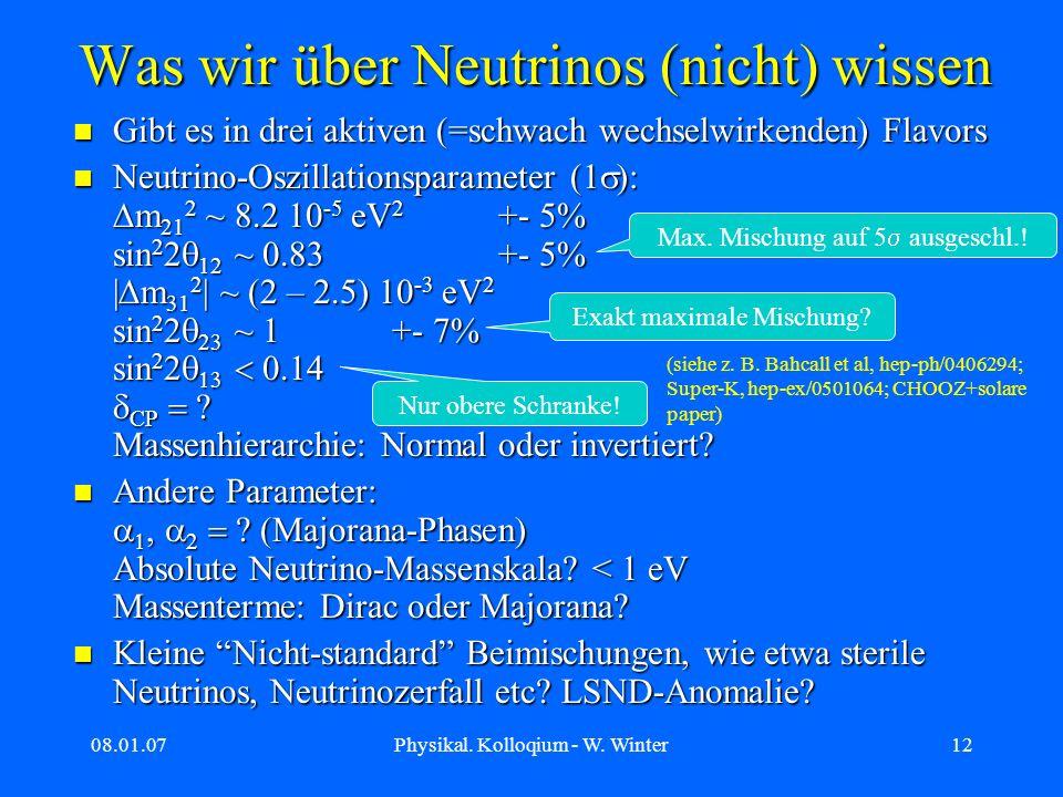 08.01.07Physikal. Kolloqium - W. Winter12 Was wir über Neutrinos (nicht) wissen Gibt es in drei aktiven (=schwach wechselwirkenden) Flavors Gibt es in