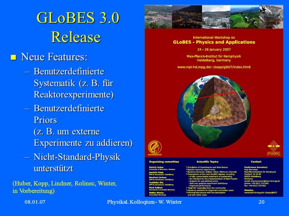 08.01.07Physikal. Kolloqium - W. Winter20 GLoBES 3.0 Release GLoBES 3.0 Release Neue Features: Neue Features: –Benutzerdefinierte Systematik (z. B. fü
