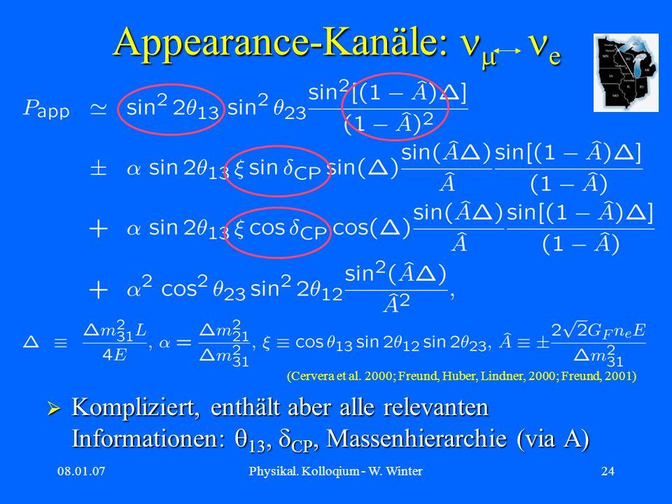 08.01.07Physikal. Kolloqium - W. Winter24 Appearance-Kanäle: e Kompliziert, enthält aber alle relevanten Informationen: 13, CP, Massenhierarchie (via