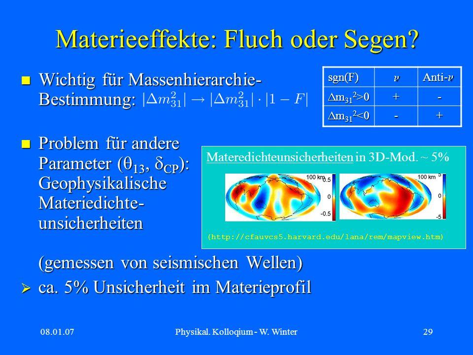 08.01.07Physikal. Kolloqium - W. Winter29 Materieeffekte: Fluch oder Segen? Wichtig für Massenhierarchie- Bestimmung: Wichtig für Massenhierarchie- Be