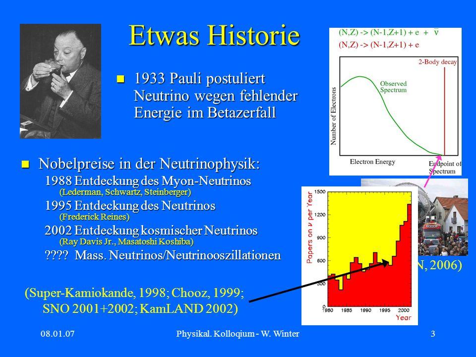 08.01.07Physikal. Kolloqium - W. Winter3 (KATRIN, 2006) Etwas Historie Nobelpreise in der Neutrinophysik: Nobelpreise in der Neutrinophysik: 1988 Entd