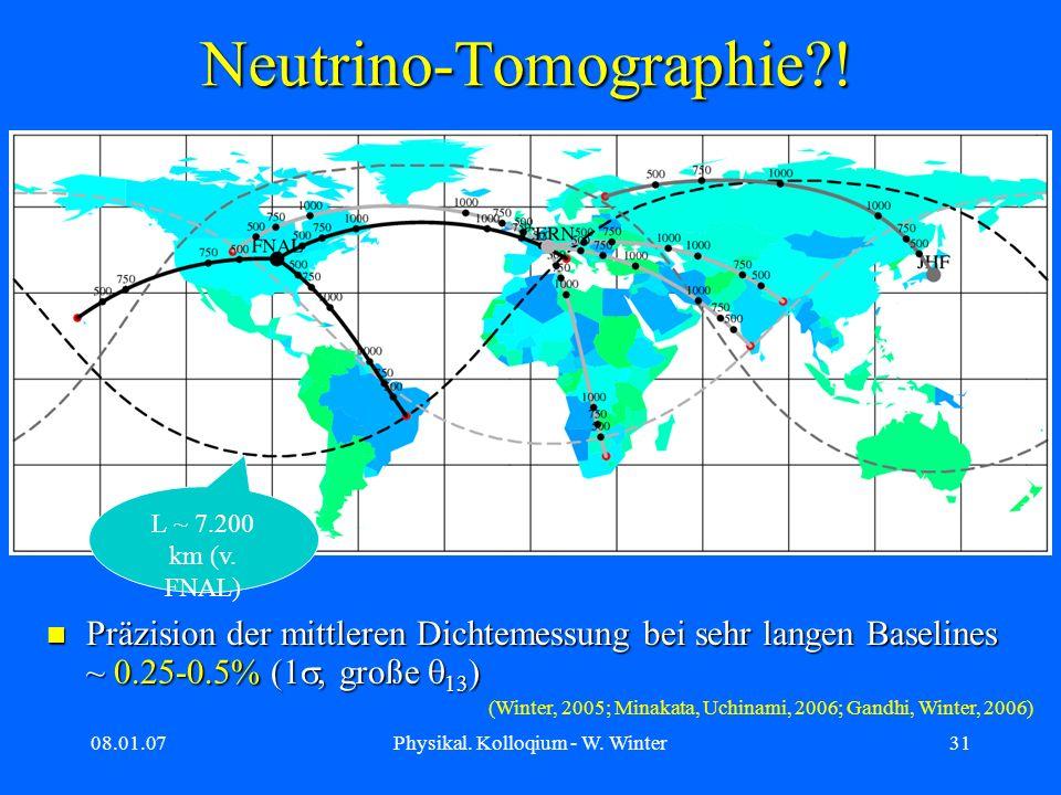 08.01.07Physikal. Kolloqium - W. Winter31 Neutrino-Tomographie?! L ~ 7.200 km (v. FNAL) Präzision der mittleren Dichtemessung bei sehr langen Baseline
