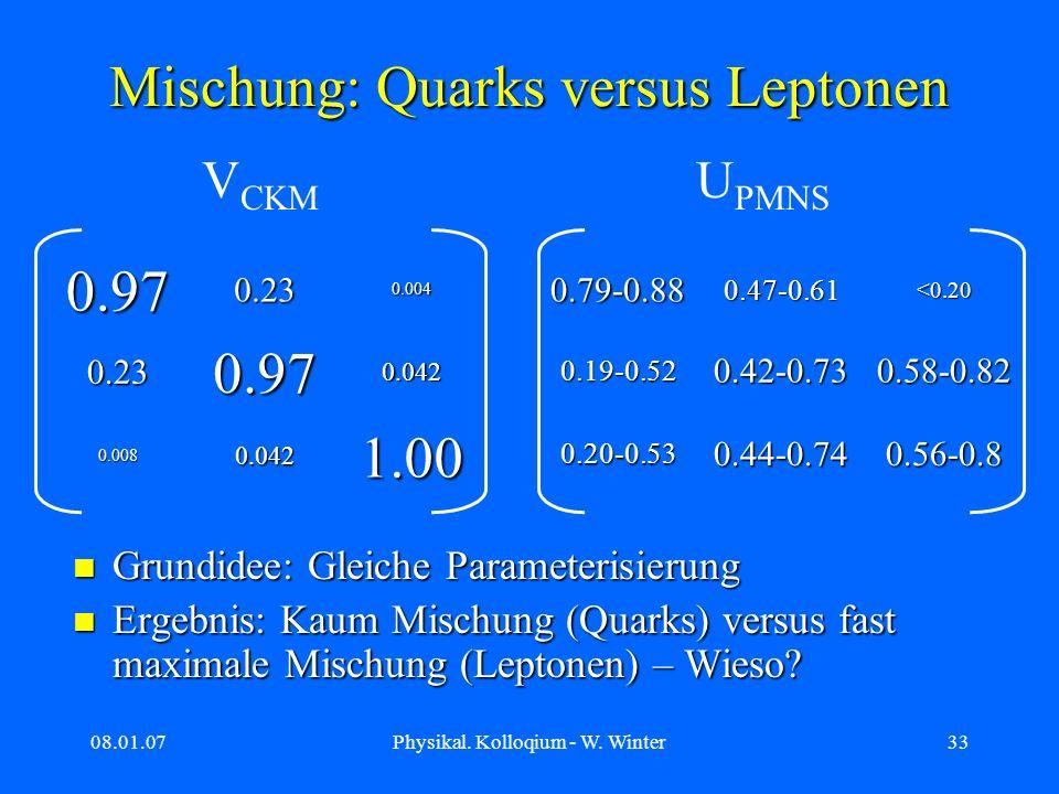 08.01.07Physikal. Kolloqium - W. Winter33 Mischung: Quarks versus Leptonen Grundidee: Gleiche Parameterisierung Grundidee: Gleiche Parameterisierung E