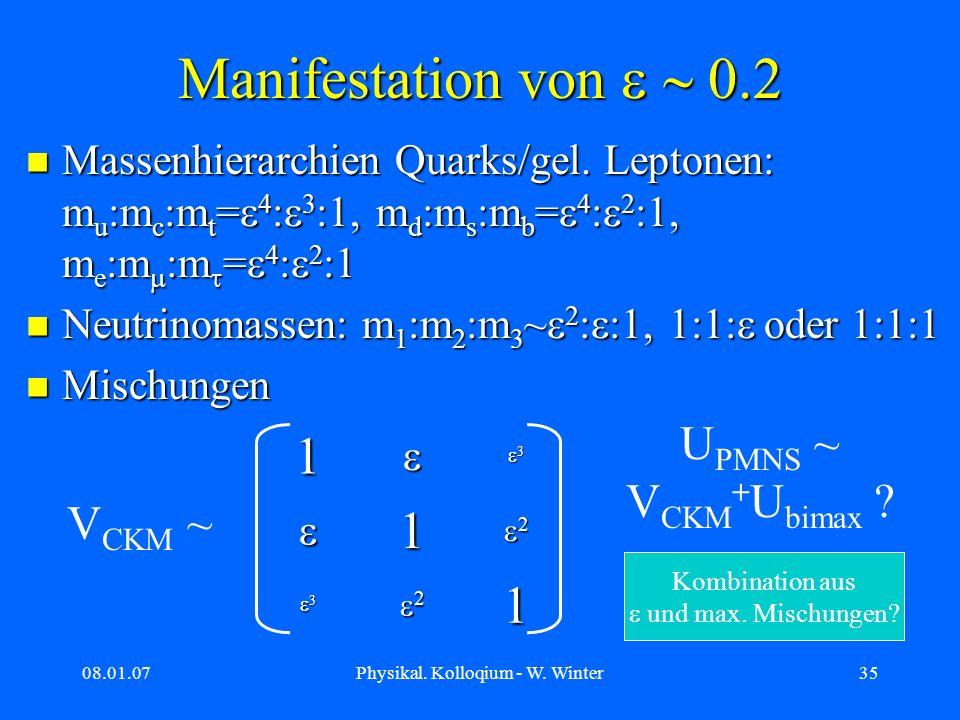 08.01.07Physikal. Kolloqium - W. Winter35 Manifestation von Massenhierarchien Quarks/gel. Leptonen: m u :m c :m t = 4 : 3 :1, m d :m s :m b = 4 : 2 :1