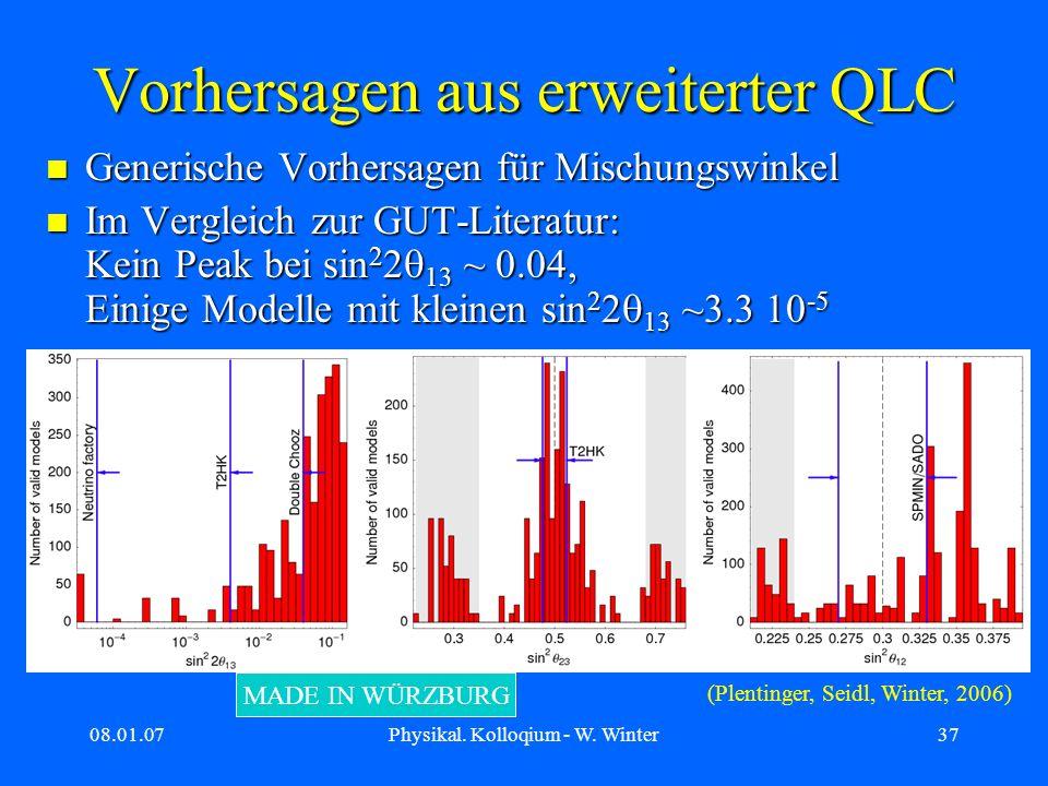 08.01.07Physikal. Kolloqium - W. Winter37 Vorhersagen aus erweiterter QLC Generische Vorhersagen für Mischungswinkel Generische Vorhersagen für Mischu