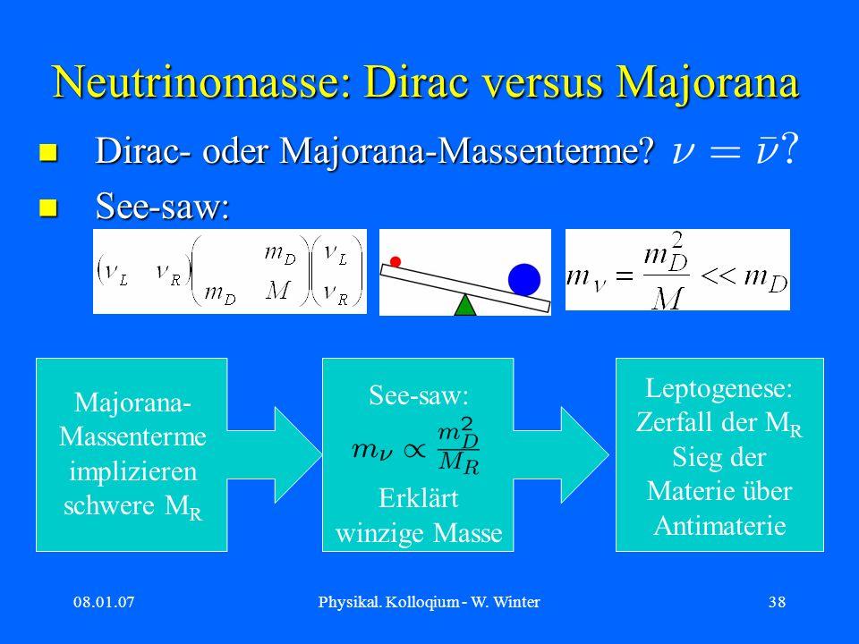 08.01.07Physikal. Kolloqium - W. Winter38 Dirac- oder Majorana-Massenterme? Dirac- oder Majorana-Massenterme? See-saw: See-saw: Neutrinomasse: Dirac v