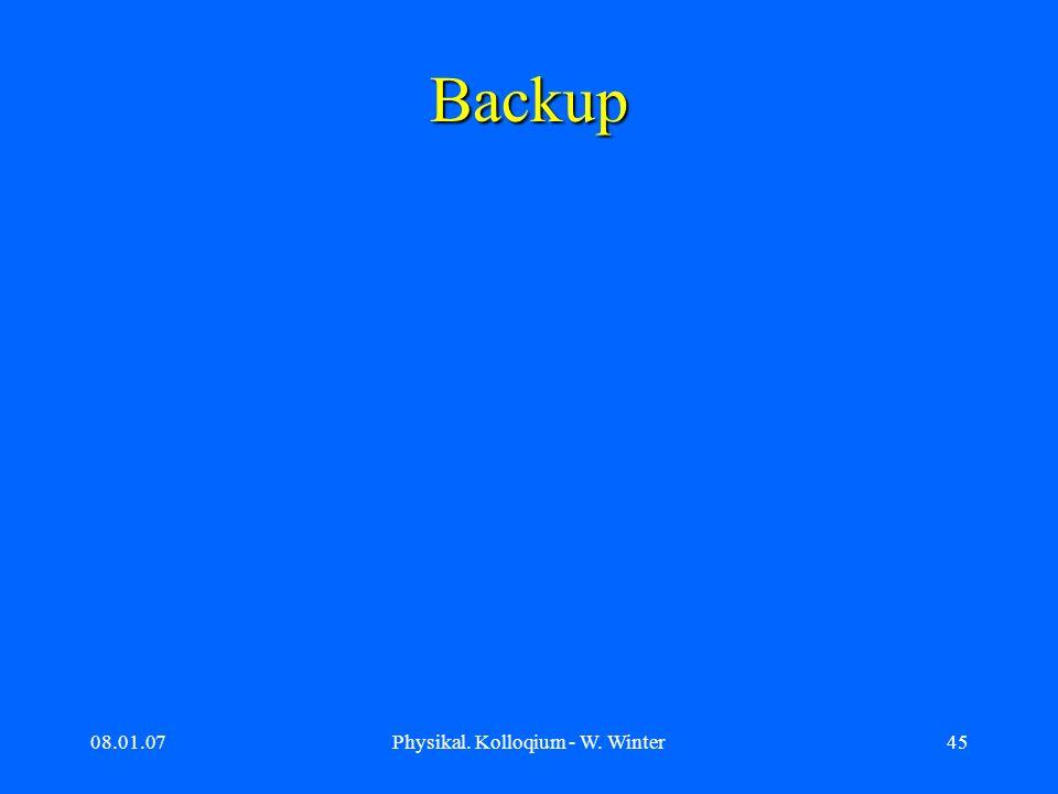 08.01.07Physikal. Kolloqium - W. Winter45 Backup