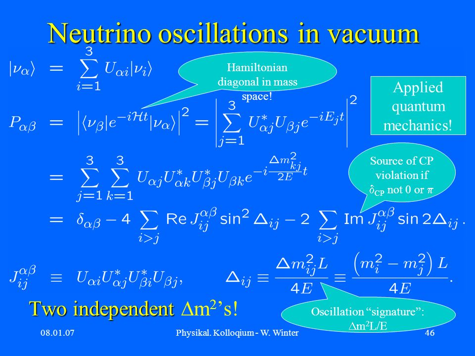 08.01.07Physikal. Kolloqium - W. Winter46 Neutrino oscillations in vacuum Two independent Two independent m 2 s! Hamiltonian diagonal in mass space! S
