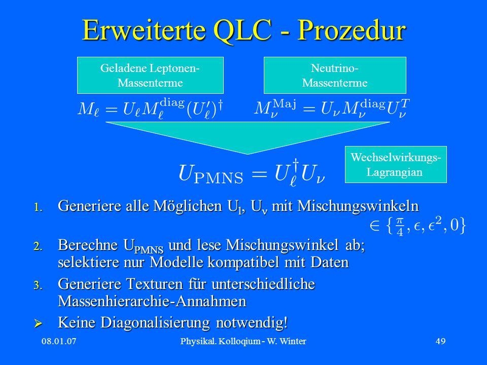 08.01.07Physikal. Kolloqium - W. Winter49 Erweiterte QLC - Prozedur 1. Generiere alle Möglichen U l, U mit Mischungswinkeln 2. Berechne U PMNS und les