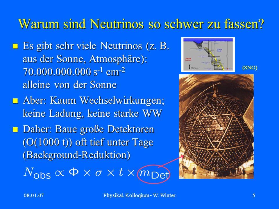 08.01.07Physikal. Kolloqium - W. Winter5 Warum sind Neutrinos so schwer zu fassen? Es gibt sehr viele Neutrinos (z. B. aus der Sonne, Atmosphäre): 70.