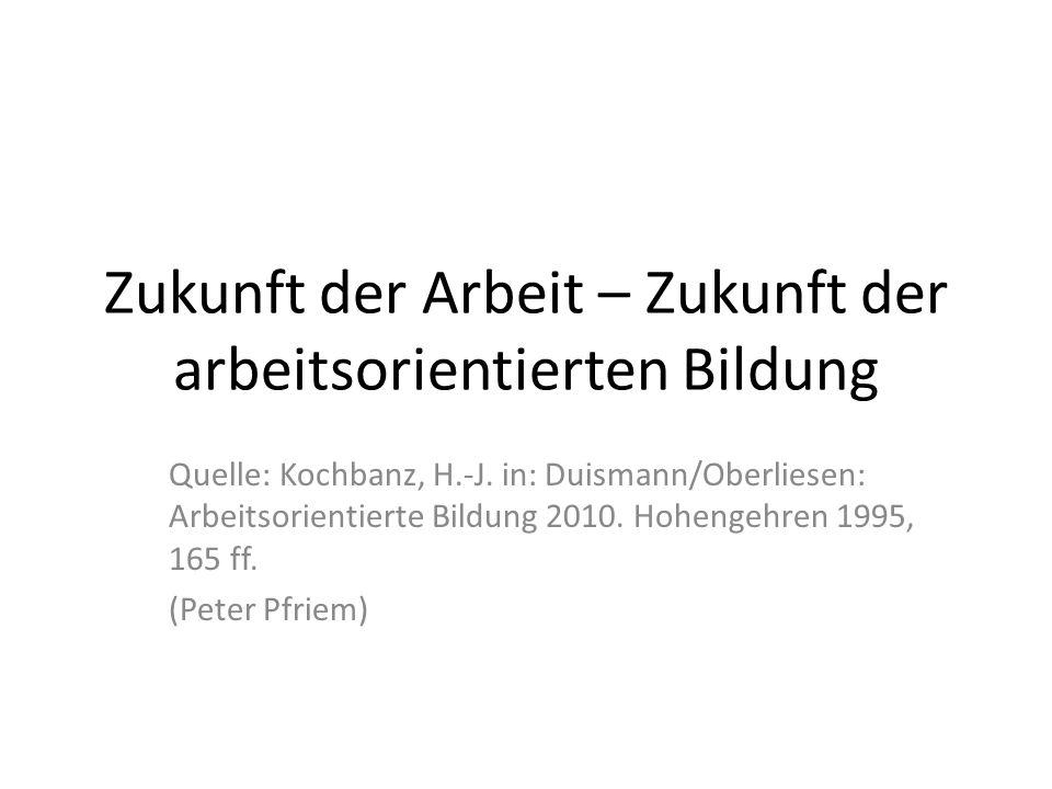 Zukunft der Arbeit – Zukunft der arbeitsorientierten Bildung Quelle: Kochbanz, H.-J.