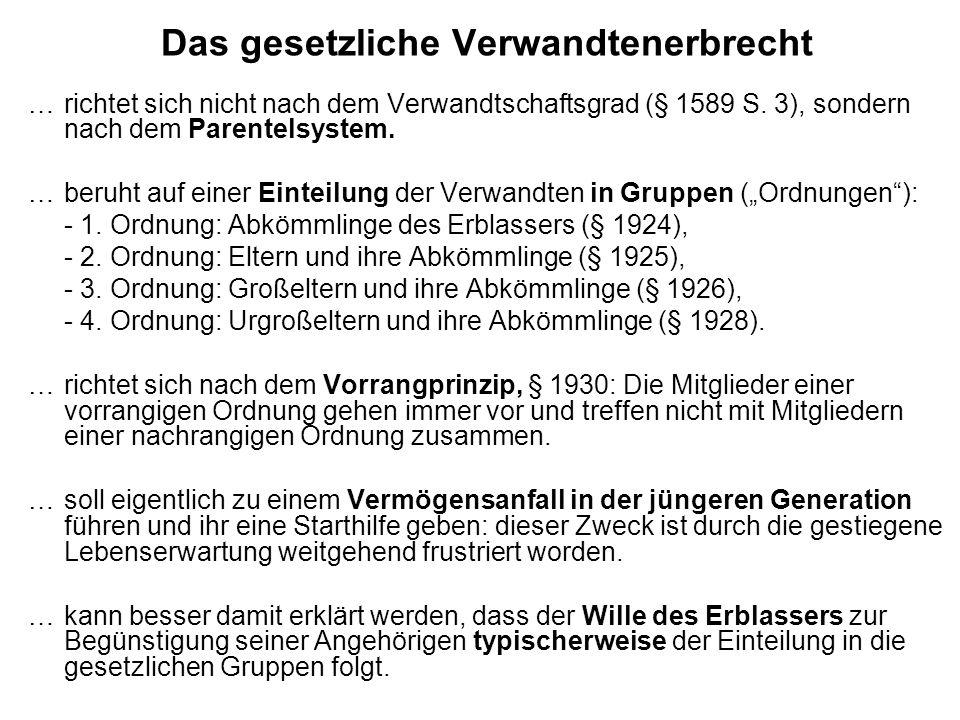 Das gesetzliche Verwandtenerbrecht … richtet sich nicht nach dem Verwandtschaftsgrad (§ 1589 S.