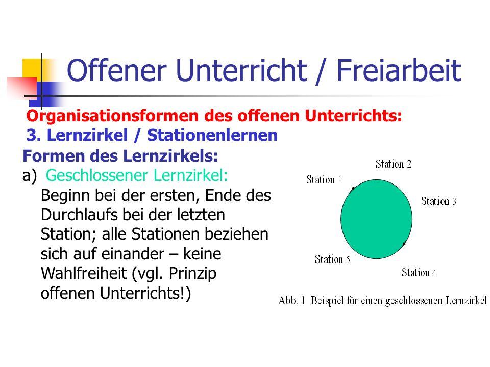 Offener Unterricht / Freiarbeit Organisationsformen des offenen Unterrichts: 3. Lernzirkel / Stationenlernen Formen des Lernzirkels: a) Geschlossener