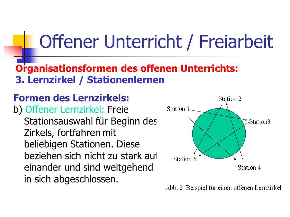 Offener Unterricht / Freiarbeit Organisationsformen des offenen Unterrichts: 3. Lernzirkel / Stationenlernen Formen des Lernzirkels: b) Offener Lernzi