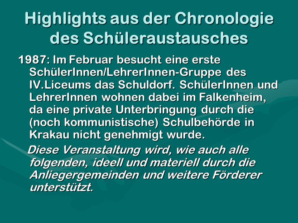Highlights aus der Chronologie des Schüleraustausches 1987: Im Februar besucht eine erste SchülerInnen/LehrerInnen-Gruppe des IV.Liceums das Schuldorf