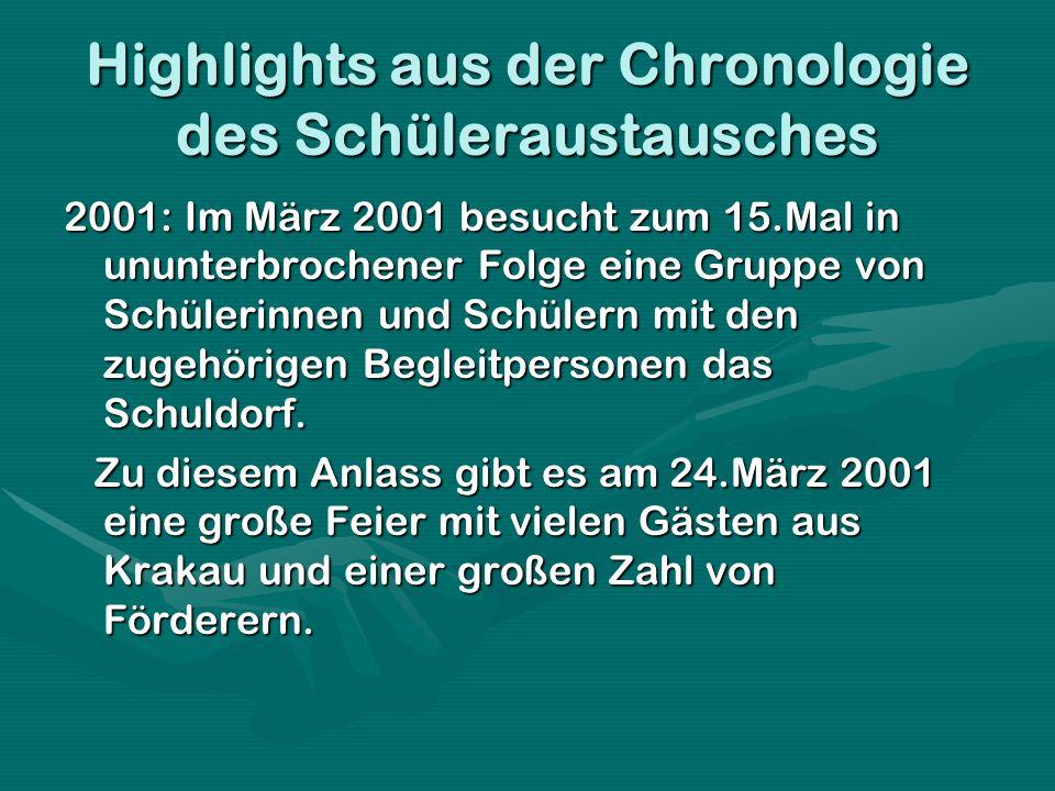 Highlights aus der Chronologie des Schüleraustausches 2001: Im März 2001 besucht zum 15.Mal in ununterbrochener Folge eine Gruppe von Schülerinnen und