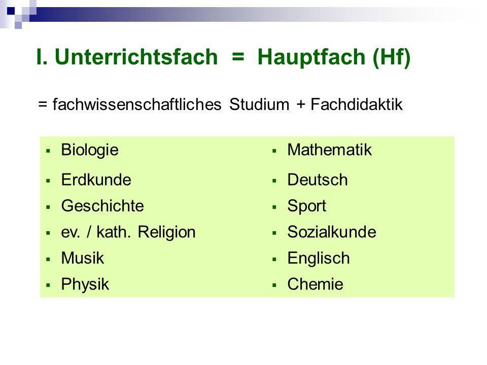 I. Unterrichtsfach = Hauptfach (Hf) Biologie Mathematik Erdkunde Deutsch Geschichte Sport ev. / kath. Religion Sozialkunde Musik Englisch Physik Chemi