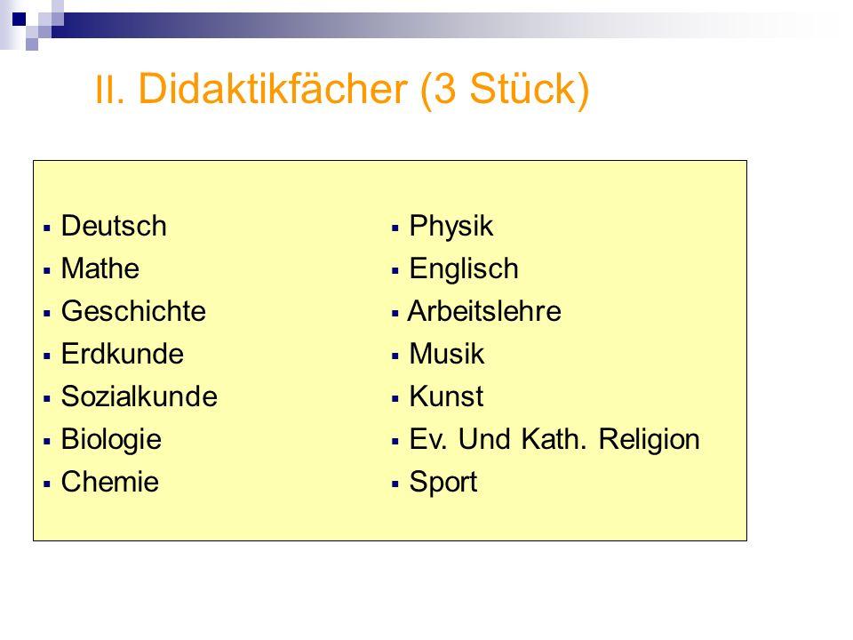 II. Didaktikfächer (3 Stück) Deutsch Mathe Geschichte Erdkunde Sozialkunde Biologie Chemie Physik Englisch Arbeitslehre Musik Kunst Ev. Und Kath. Reli