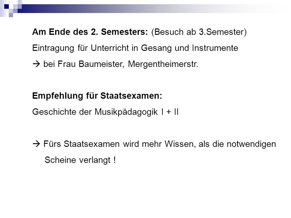 Am Ende des 2. Semesters: (Besuch ab 3.Semester) Eintragung für Unterricht in Gesang und Instrumente bei Frau Baumeister, Mergentheimerstr. Empfehlung