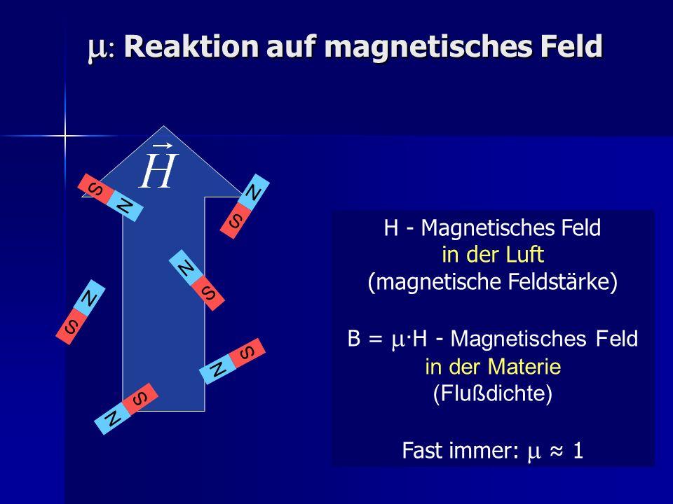 Reaktion auf magnetisches Feld Reaktion auf magnetisches Feld H - Magnetisches Feld in der Luft (magnetische Feldstärke) B = · H - Magnetisches Feld i