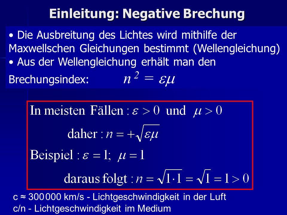 Einleitung: Negative Brechung Die Ausbreitung des Lichtes wird mithilfe der Maxwellschen Gleichungen bestimmt (Wellengleichung) Aus der Wellengleichun