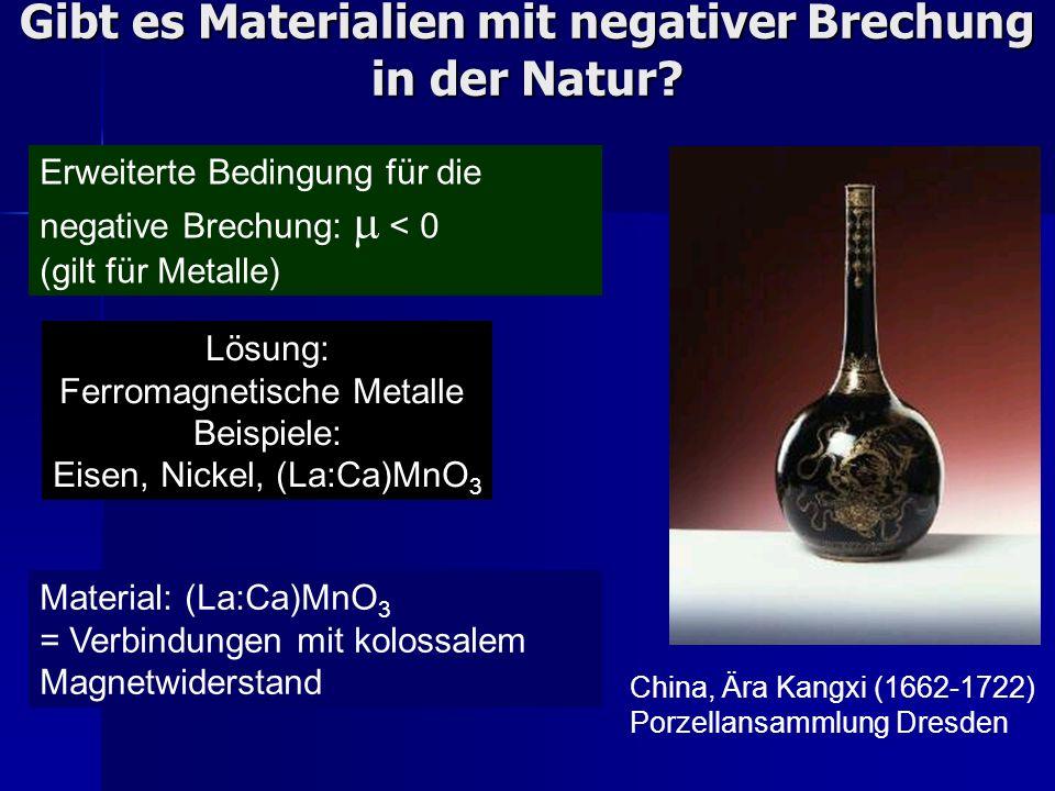 Gibt es Materialien mit negativer Brechung in der Natur? Erweiterte Bedingung für die negative Brechung: < 0 (gilt für Metalle) Material: (La:Ca)MnO 3