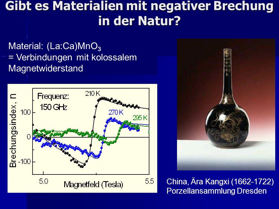 Gibt es Materialien mit negativer Brechung in der Natur? Material: (La:Ca)MnO 3 = Verbindungen mit kolossalem Magnetwiderstand China, Ära Kangxi (1662