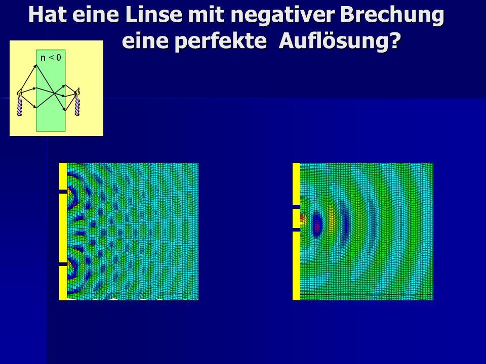Hat eine Linse mit negativer Brechung eine perfekte Auflösung?